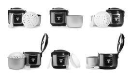 Fije de cocinas, de partes y de accesorios multi el?ctricos modernos en blanco foto de archivo libre de regalías