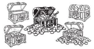 Fije de cofres del tesoro del pirata en estilo del bosquejo abierto y cerrado, vacío y lleno de monedas y de joyería de oro Mano  ilustración del vector