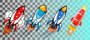 Fije de cohetes en vector retro del estilo del arte pop ilustración del vector