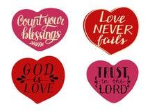 Fije de 4 corazones con citas de las mano-letras para contar sus bendiciones Dios es amor Confianza en el se?or stock de ilustración
