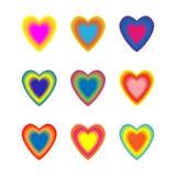 Fije de corazones mezclados lisos coloridos Ilustración del vector en el fondo blanco ilustración del vector