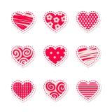 Fije de corazones rojos brillantes estilizados del vector foto de archivo libre de regalías
