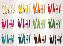 Fije de cosas de la escuela en 12 diversos colores ilustración del vector