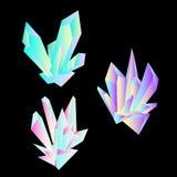Fije de cristales luminosos coloreados en estilo del pol?gono en el fondo oscuro ilustración del vector