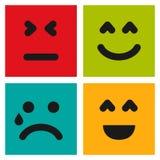 Fije de cuatro emoticons coloridos con las caras del emoji libre illustration