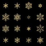 Fije de dieciséis copos de nieve de oro del alivio del brillo aislados en fondo negro Tarjeta de Navidad del Año Nuevo y que bril stock de ilustración