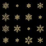Fije de dieciséis copos de nieve de oro del alivio del brillo aislados en fondo negro Tarjeta de Navidad del Año Nuevo y que bril ilustración del vector