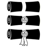 Fije de diplomas doblados con el ejemplo plano del vector de la cinta y de los sellos libre illustration