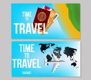 Fije de dise?o colorido de la bandera del viaje del vector con el pasaporte, el aeroplano y los boletos Fondo del vector ilustración del vector
