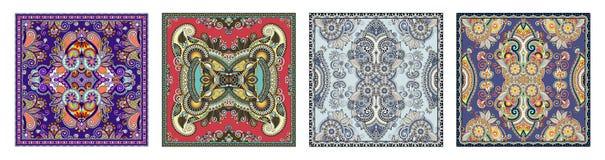 Fije de diseño cuadrado de seda auténtico del modelo de la bufanda o del pañuelo de cuello ilustración del vector