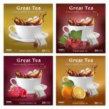 Fije de diseño de empaquetado del té Una taza con un chapoteo y diversos añadidos foto de archivo