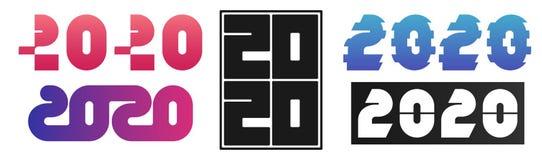 Fije de diseño de 2020 textos Colección de la Feliz Año Nuevo Color escalable y editable Vector ilustración del vector