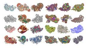 Fije de 24 diseños florales de Paisley, estampado de flores étnico indio aislado en el fondo blanco libre illustration