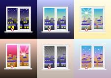 Fije de distintas vistas de la ventana: mañana, tarde, tarde, noche, tiempo lluvioso, claro y nevoso nublado stock de ilustración