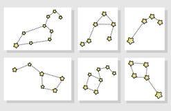 Fije de diversa constelación de la historieta ilustración del vector