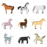 Fije de diversas carreras de caballos colorido y lleno de poder stock de ilustración