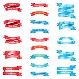 Fije de diversas cintas de saludo stock de ilustración