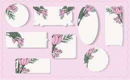 Fije de diversas etiquetas de papel florales ilustración del vector