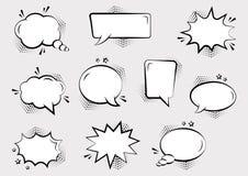 Fije de diversas formas de las burbujas cómicas vacías del discurso con las sombras y las estrellas de semitono Efectos sonoros c ilustración del vector