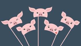 Fije de diversos apoyos de la cabina de la foto del pedazo con los cerdos de la historieta stock de ilustración