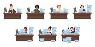 Fije de diversos trabajadores de la carga de trabajo de las mujeres de las nacionalidades en estilo plano El objeto está a parte  ilustración del vector