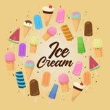 Fije de ejemplos del vector del helado de la historieta ilustración del vector