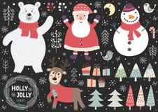 Fije de elementos lindos de la Navidad: oso polar, Pap? Noel, mu?eco de nieve, ciervo, p?jaros stock de ilustración