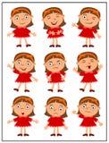 Fije de emociones de la muchacha divertida en diversas actitudes libre illustration