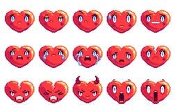 Fije de emoji en forma de corazón del arte del pixel de 15 emociones negativas en color de oro stock de ilustración