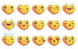 Fije de emoji en forma de corazón del arte del pixel de 15 emociones positivas en color de oro libre illustration