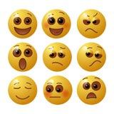 Fije de emoticons con emociones humanas Sistema de Emoji Ilustración del vector stock de ilustración