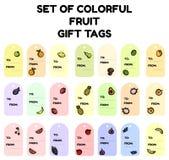 Fije de etiquetas coloridas del regalo de la fruta Colección plana del diseño de etiquetas aisladas de la fruta ilustración del vector