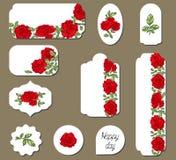 Fije de etiquetas con las flores de las rosas rojas stock de ilustración