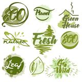 Fije de etiquetas del verde del eco con los puntos de la tinta stock de ilustración