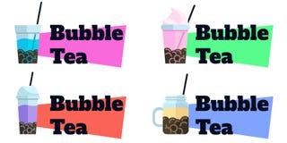 Fije de etiquetas planas del vector de las insignias del té de la burbuja ilustración del vector
