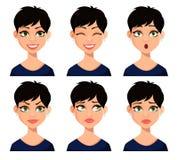Fije de expresiones faciales de la mujer hermosa stock de ilustración