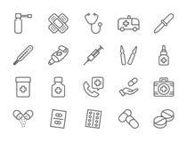 Fije de farmacia y las medicaciones alinean iconos Coche de la ambulancia, estetoscopio y más ilustración del vector