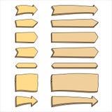 Fije de flechas de madera en un fondo blanco stock de ilustración