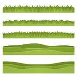 Fije de fondos horizontales de la hierba y de las colinas cortadas del papel Paisaje acodado ilustración del vector