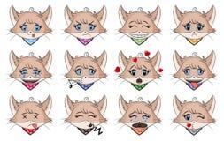 Fije de gato lindo con diversas emociones Cara del gatito de la historieta del carácter Ejemplo del emoticon de Avatar Emoji del  libre illustration
