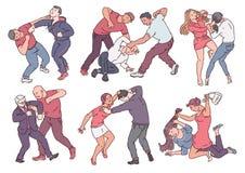 Fije de gente agresiva durante estilo del bosquejo de las acciones de la lucha ilustración del vector