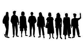 Fije de gente de las siluetas del vector stock de ilustración
