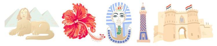 Fije de 5 grandes símbolos del icono egipcio - las pirámides y esfinge, hibisco, máscara del faraón ilustración del vector