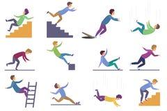 Fije de herir a la gente que cae abajo de las escaleras y sobre el borde, escalera, descenso de la altitud, el caer mojada del pi ilustración del vector