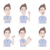 Fije de hombre con diversas emociones Carácter masculino joven con diversas expresiones Ejemplo dibujado mano en estilo de la his stock de ilustración