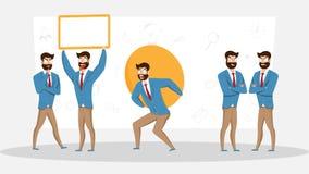 Fije de hombre de negocios en diversas emociones y expresiones ilustración del vector