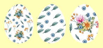 Fije de 3 huevos de Pascua en un fondo amarillo con un modelo de flores salvajes ilustración del vector