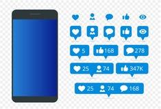 Fije de icono como, del comentario del icono del seguidor del icono y del teléfono Comunicación en redes sociales Pantalla con pe ilustración del vector