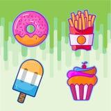 Fije de iconos coloridos de las fritadas de los alimentos de preparación rápida de la historieta Vector aislado magdalena ilustración del vector