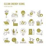 Fije de iconos del vector del eco en estilo plano ilustración del vector